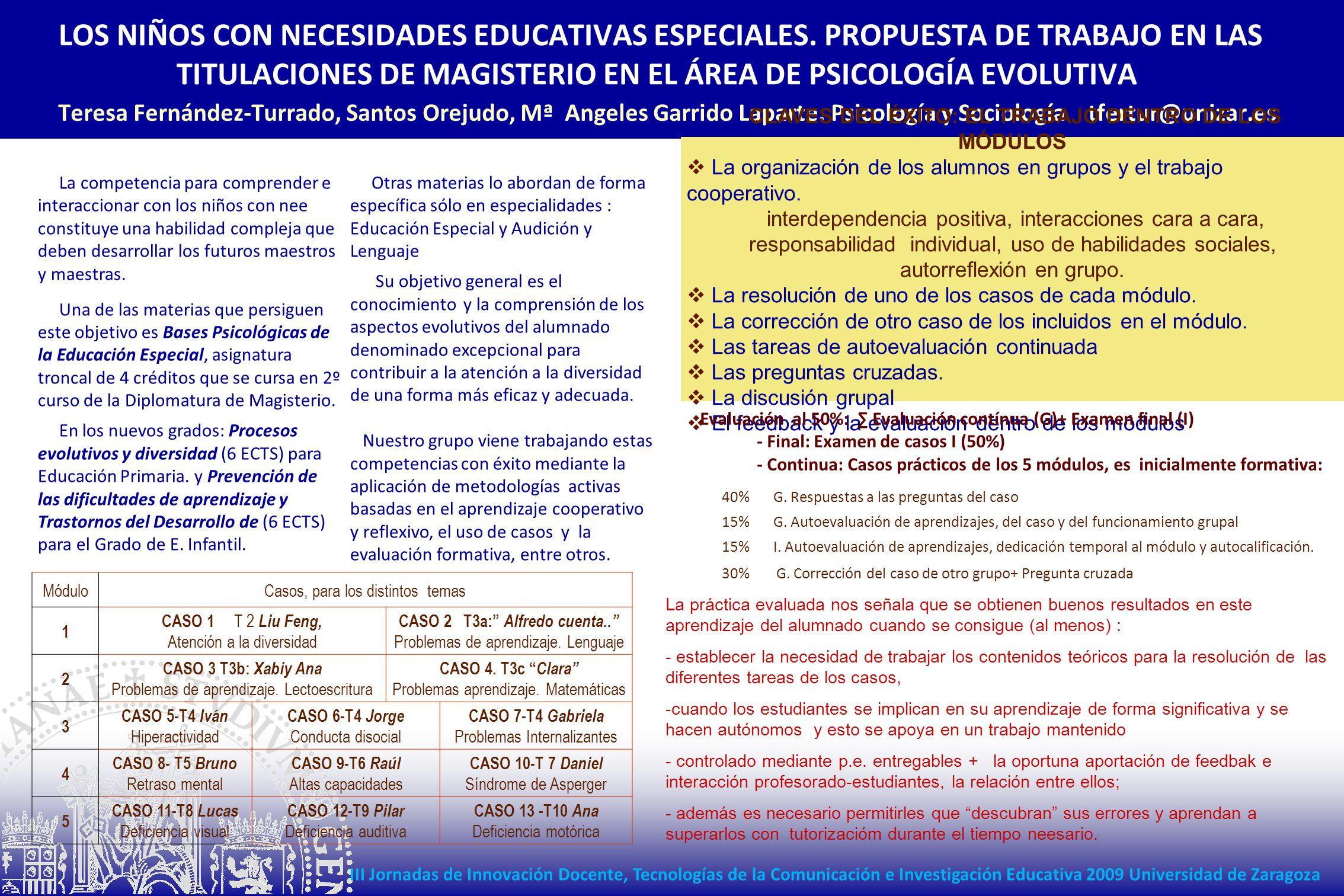 LOS NIÑOS CON NECESIDADES EDUCATIVAS ESPECIALES. PROPUESTA DE TRABAJO EN LAS TITULACIONES DE MAGISTERIO EN EL ÁREA DE PSICOLOGÍA EVOLUTIVA Teresa Fern