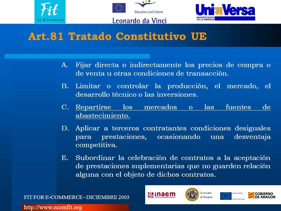 FIT FOR E-COMMERCE - DICIEMBRE 2003 Universidad de Zaragoza http://www.ecomfit.org Art.81 Tratado Constitutivo UE A.Fijar directa o indirectamente los precios de compra o de venta u otras condiciones de transacción.