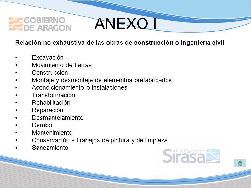 ANEXO I Relación no exhaustiva de las obras de construcción o ingeniería civil Excavación Movimiento de tierras Construcción Montaje y desmontaje de e