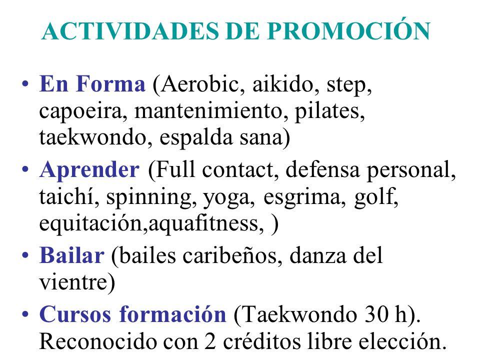ACTIVIDADES DE PROMOCIÓN En Forma (Aerobic, aikido, step, capoeira, mantenimiento, pilates, taekwondo, espalda sana) Aprender (Full contact, defensa personal, taichí, spinning, yoga, esgrima, golf, equitación,aquafitness, ) Bailar (bailes caribeños, danza del vientre) Cursos formación (Taekwondo 30 h).