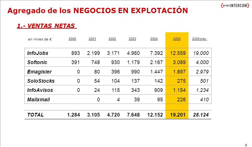 3 Agregado de los NEGOCIOS EN EXPLOTACIÓN 2000200120022003200420052006 prev.