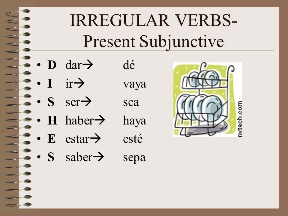 IRREGULAR VERBS- Present Subjunctive Ddar dé Iir vaya Sser sea Hhaber haya Eestar esté S saber sepa