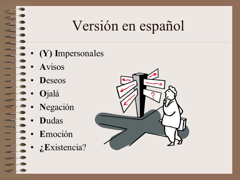 Versión en español (Y) Impersonales Avisos Deseos Ojalá Negación Dudas Emoción ¿Existencia?