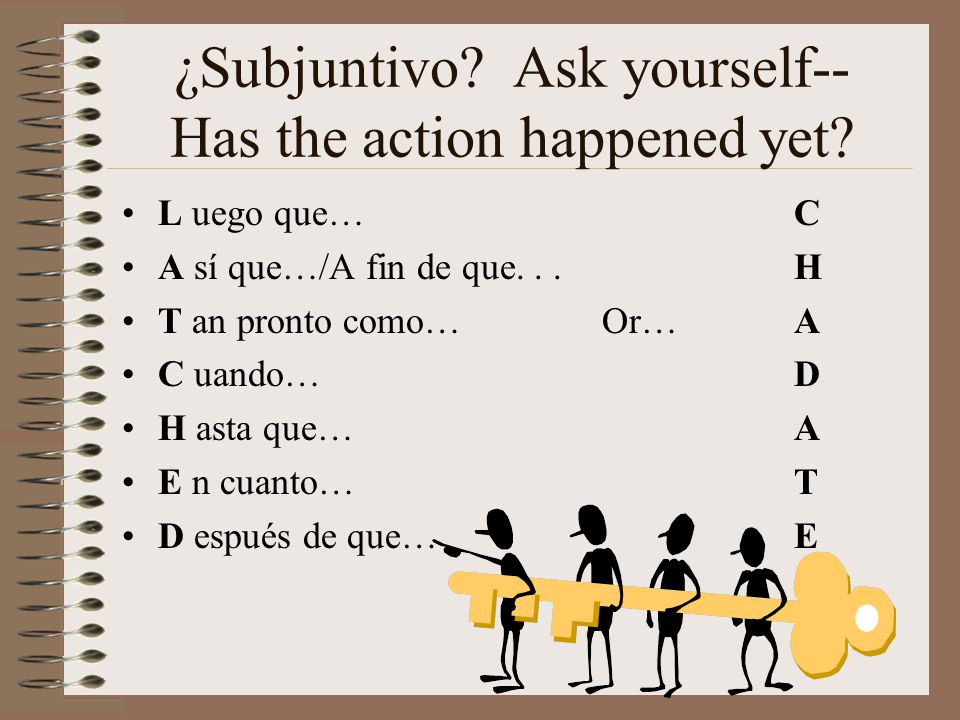 ¿Subjuntivo? Ask yourself-- Has the action happened yet? L uego que…C A sí que…/A fin de que...H T an pronto como…Or… A C uando…D H asta que…A E n cua