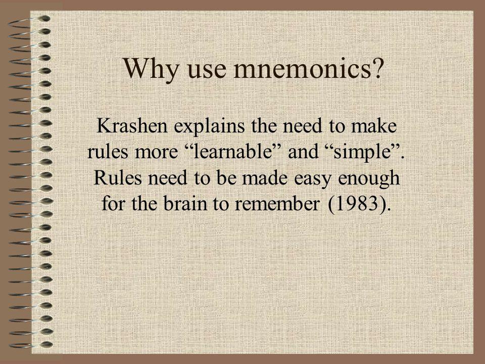 Types of Mnemonics Acronyms Acrostics Narratives