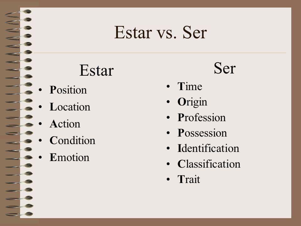 Estar vs. Ser Estar Position Location Action Condition Emotion Ser Time Origin Profession Possession Identification Classification Trait
