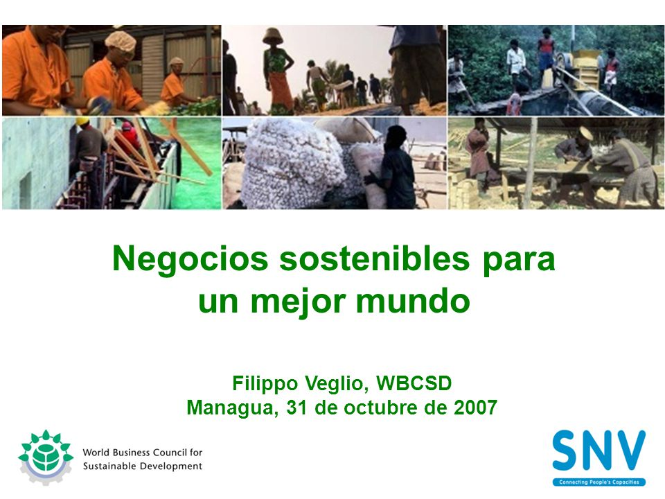 Negocios sostenibles para un mejor mundo Filippo Veglio, WBCSD Managua, 31 de octubre de 2007