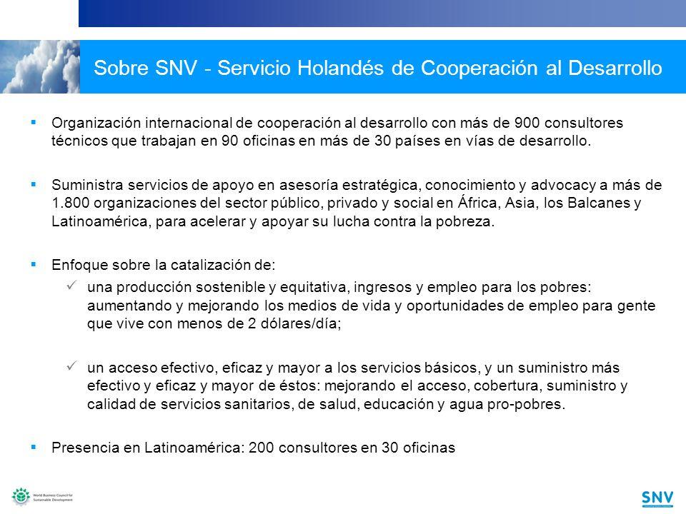 10 Sobre SNV - Servicio Holandés de Cooperación al Desarrollo Organización internacional de cooperación al desarrollo con más de 900 consultores técnicos que trabajan en 90 oficinas en más de 30 países en vías de desarrollo.