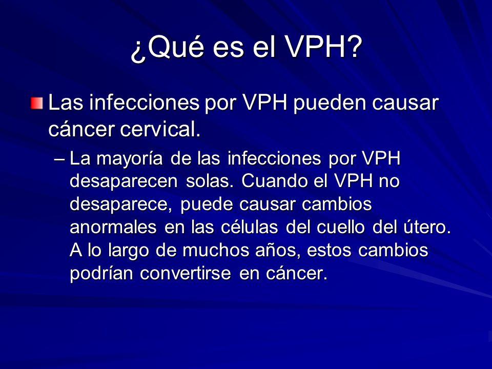 ¿Qué es el VPH? Las infecciones por VPH pueden causar cáncer cervical. –La mayoría de las infecciones por VPH desaparecen solas. Cuando el VPH no desa