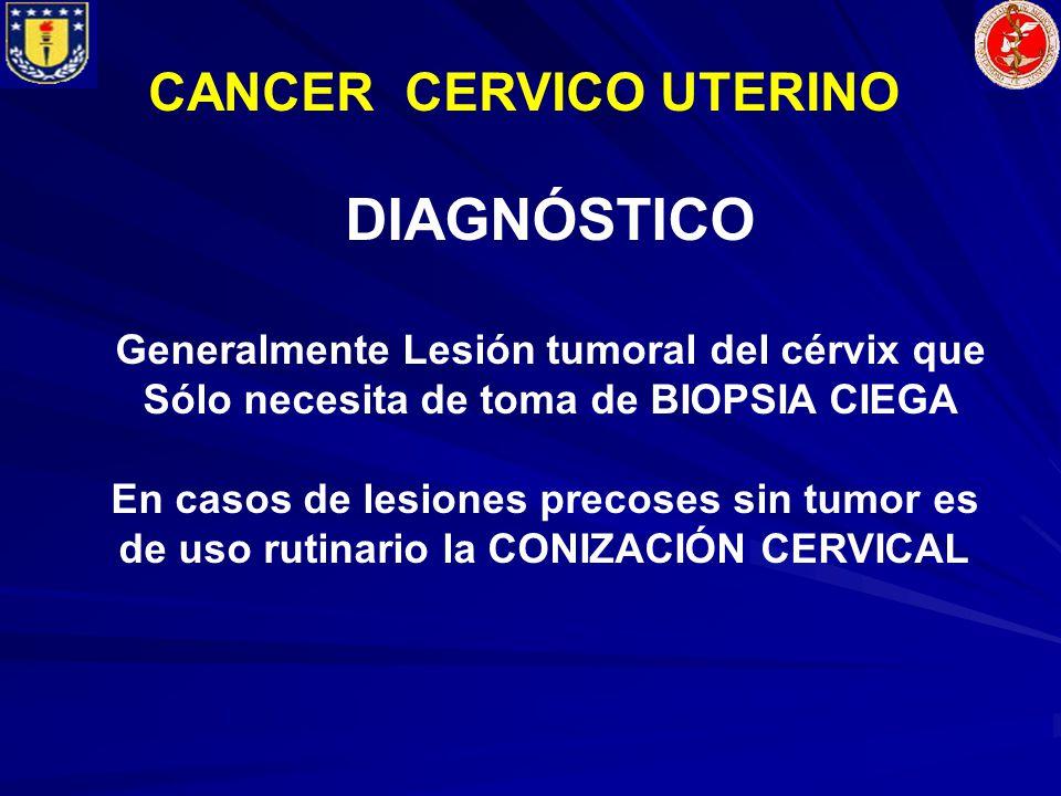 CANCER CERVICO UTERINO DIAGNÓSTICO Generalmente Lesión tumoral del cérvix que Sólo necesita de toma de BIOPSIA CIEGA En casos de lesiones precoses sin