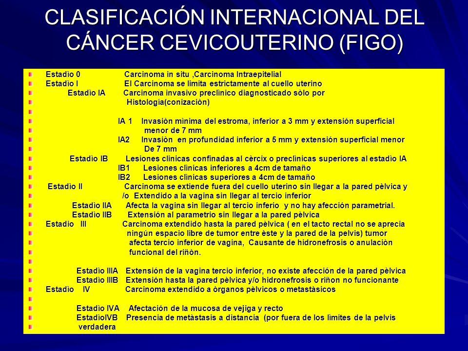 CLASIFICACIÓN INTERNACIONAL DEL CÁNCER CEVICOUTERINO (FIGO) Estadìo 0 Carcinoma in situ,Carcinoma Intraepitelial Estadìo I El Carcinoma se limita estr