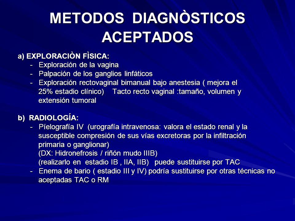 METODOS DIAGNÒSTICOS ACEPTADOS a) EXPLORACIÒN FÌSICA: - Exploración de la vagina - Exploración de la vagina - Palpación de los ganglios linfáticos - P
