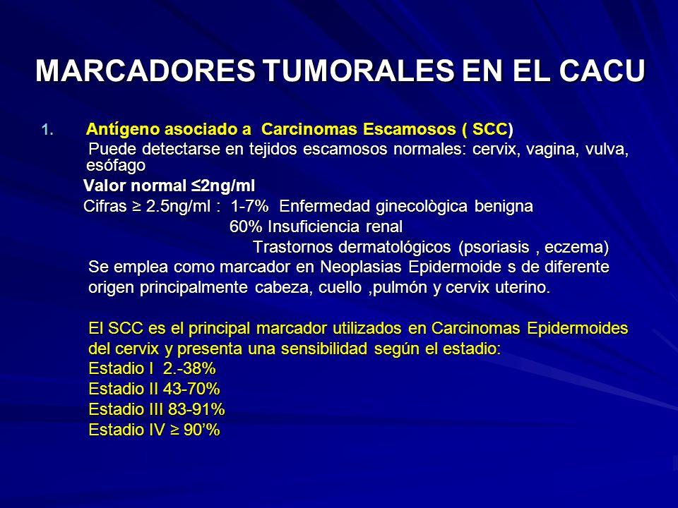 MARCADORES TUMORALES EN EL CACU 1. Antígeno asociado a Carcinomas Escamosos ( SCC) Puede detectarse en tejidos escamosos normales: cervix, vagina, vul