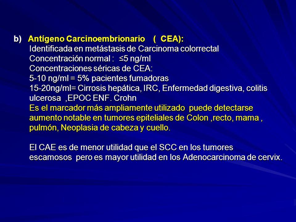 b) Antígeno Carcinoembrionario ( CEA): Identificada en metástasis de Carcinoma colorrectal Identificada en metástasis de Carcinoma colorrectal Concent