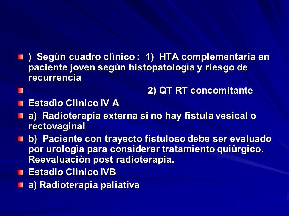 ) Segùn cuadro clìnico : 1) HTA complementaria en paciente joven segùn histopatologìa y riesgo de recurrencia 2) QT RT concomitante 2) QT RT concomita