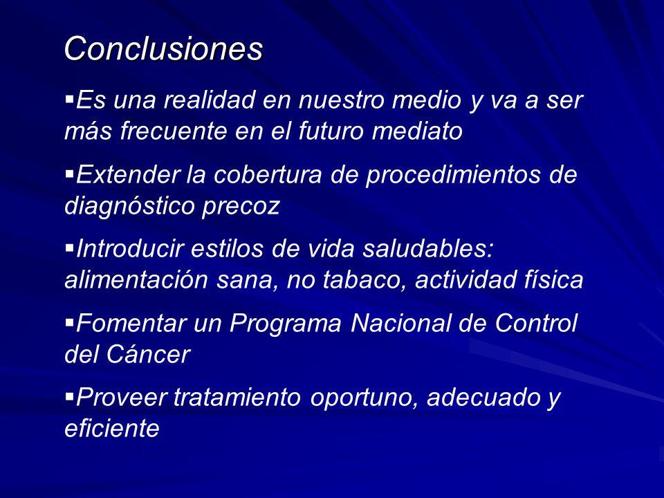 Conclusiones Es una realidad en nuestro medio y va a ser más frecuente en el futuro mediato Extender la cobertura de procedimientos de diagnóstico pre