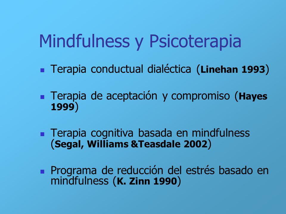Mindfulness y Psicoterapia Terapia conductual dialéctica ( Linehan 1993 ) Terapia de aceptación y compromiso ( Hayes 1999 ) Terapia cognitiva basada e