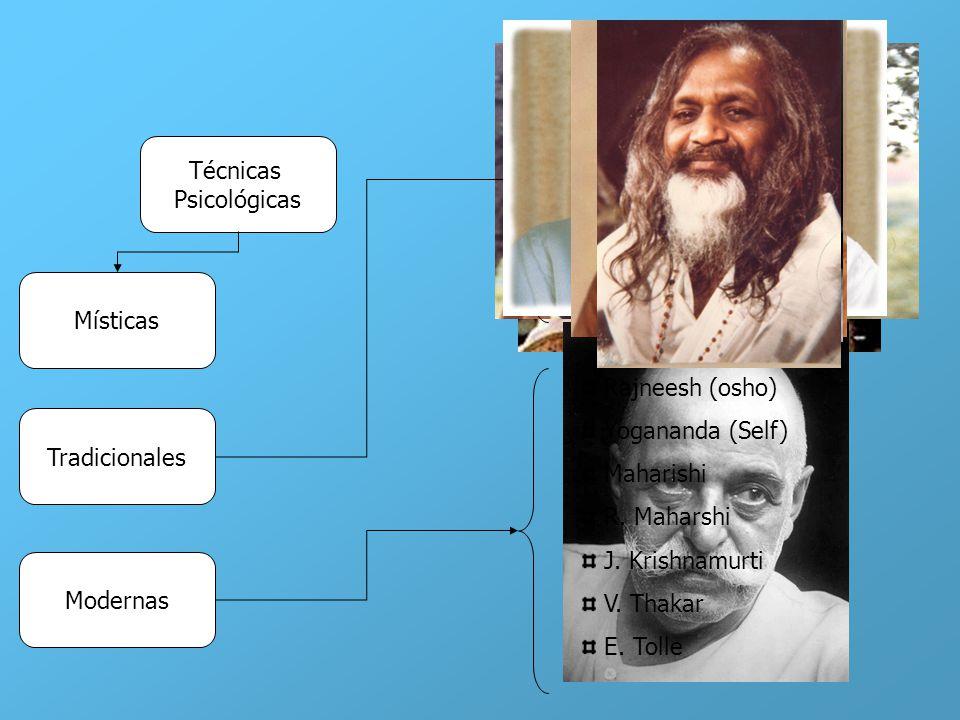 Técnicas Psicológicas Místicas Tradicionales Modernas Budismo Taoísmo Sufismo Gurdgieff Rosacruces Masonería Kabalah Rajneesh (osho) Yogananda (Self)
