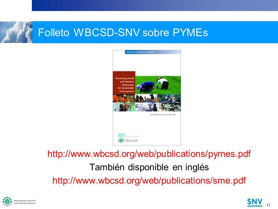 11 Folleto WBCSD-SNV sobre PYMEs http://www.wbcsd.org/web/publications/pymes.pdf También disponible en inglés http://www.wbcsd.org/web/publications/sme.pdf