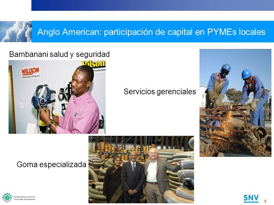 5 5 Anglo American: participación de capital en PYMEs locales Servicios gerenciales Specialised Rubber Bambanani salud y seguridad Goma especializada