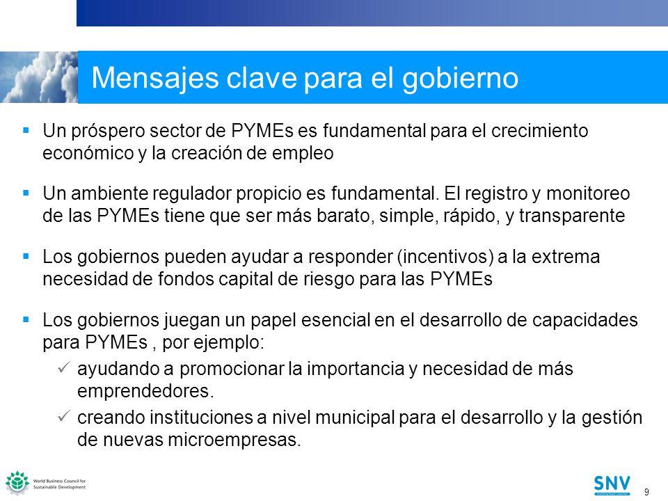 9 9 Mensajes clave para el gobierno Un próspero sector de PYMEs es fundamental para el crecimiento económico y la creación de empleo Un ambiente regulador propicio es fundamental.