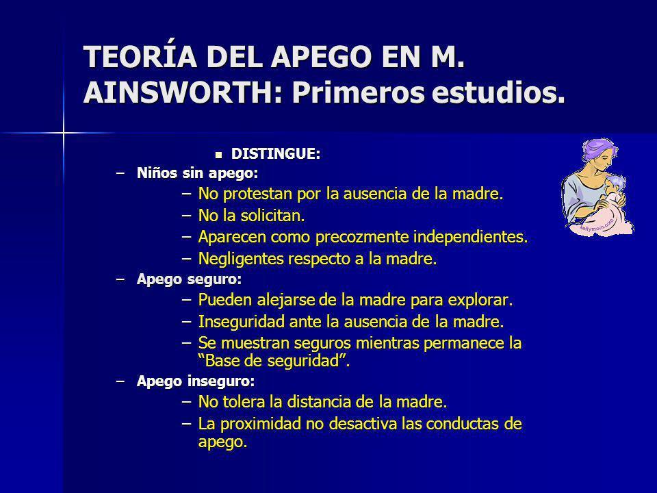 TEORÍA DEL APEGO EN M.AINSWORTH: Primeros estudios.
