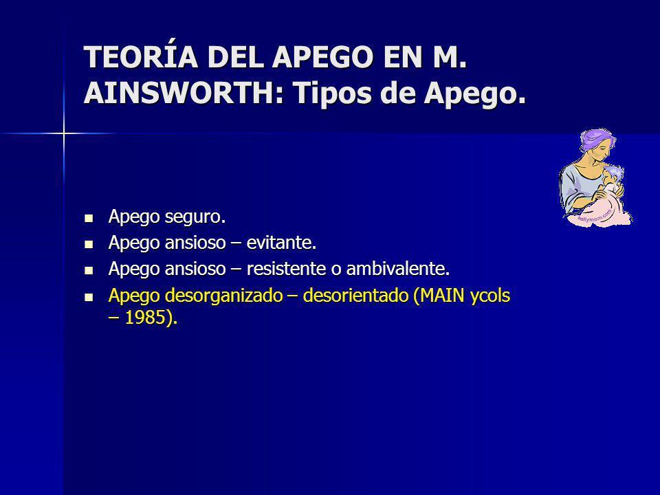 TEORÍA DEL APEGO EN M.AINSWORTH: Tipos de Apego. Apego seguro.