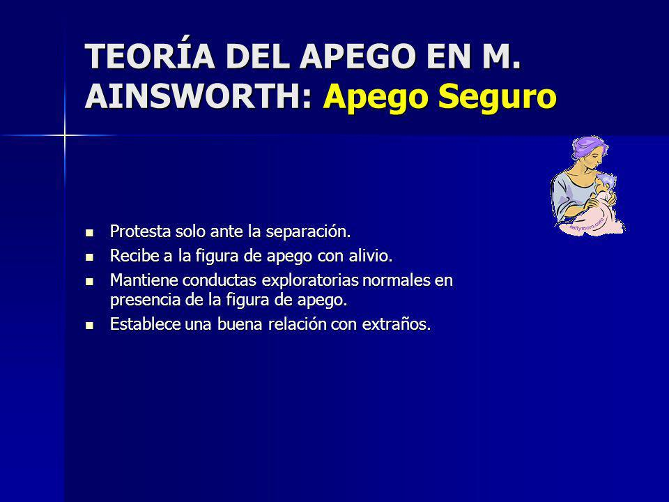 TEORÍA DEL APEGO EN M.AINSWORTH: Apego Seguro Protesta solo ante la separación.