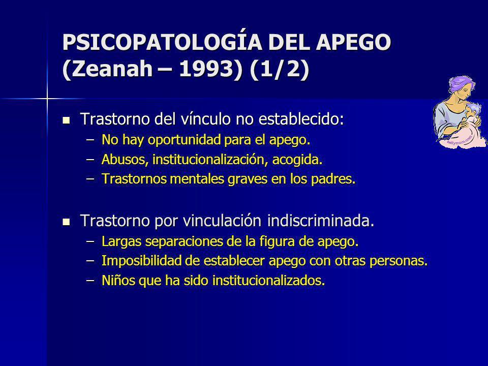 PSICOPATOLOGÍA DEL APEGO (Zeanah – 1993) (1/2) Trastorno del vínculo no establecido: Trastorno del vínculo no establecido: –No hay oportunidad para el apego.