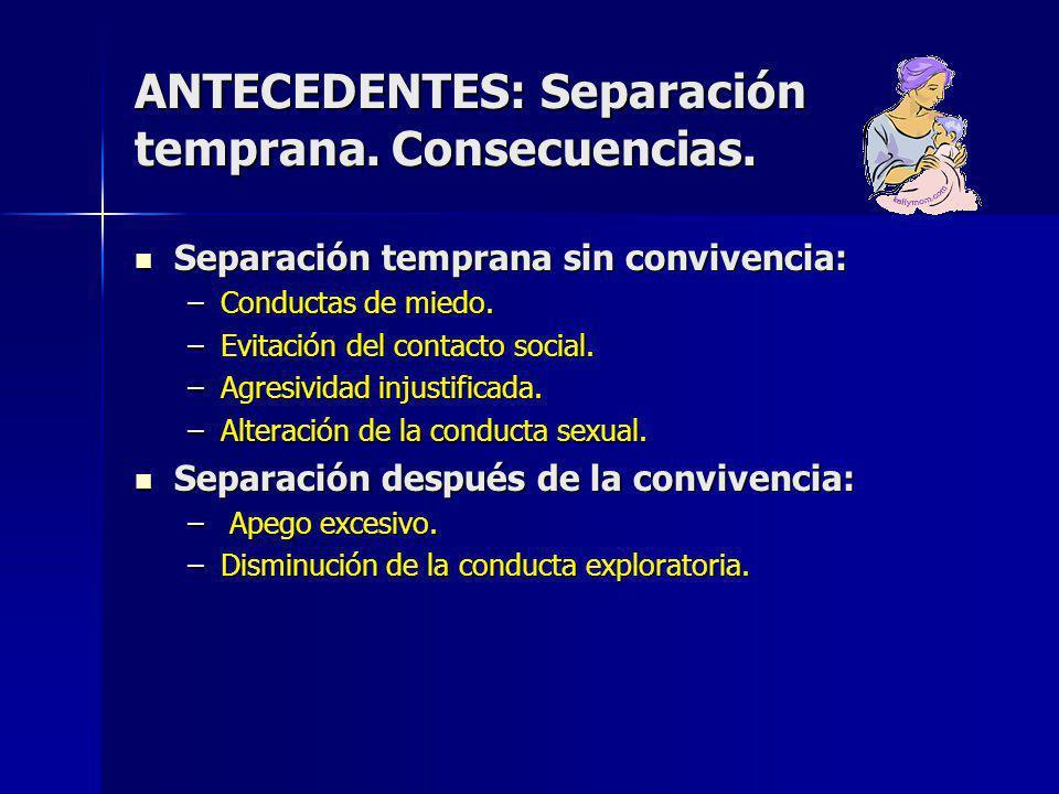 ANTECEDENTES: Separación temprana.Consecuencias.