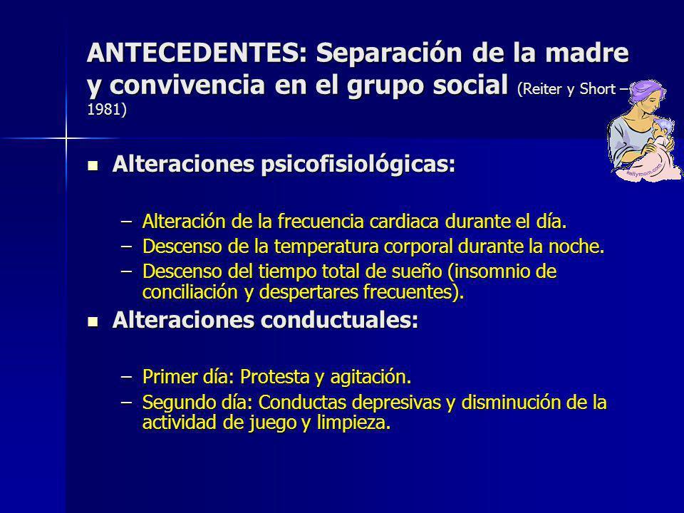 ANTECEDENTES: Separación de la madre y convivencia en el grupo social (Reiter y Short – 1981) Alteraciones psicofisiológicas: Alteraciones psicofisiológicas: –Alteración de la frecuencia cardiaca durante el día.