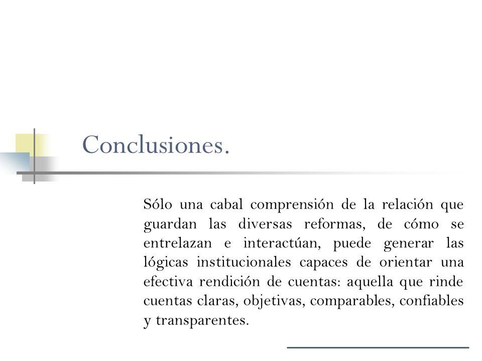 Conclusiones. Sólo una cabal comprensión de la relación que guardan las diversas reformas, de cómo se entrelazan e interactúan, puede generar las lógi