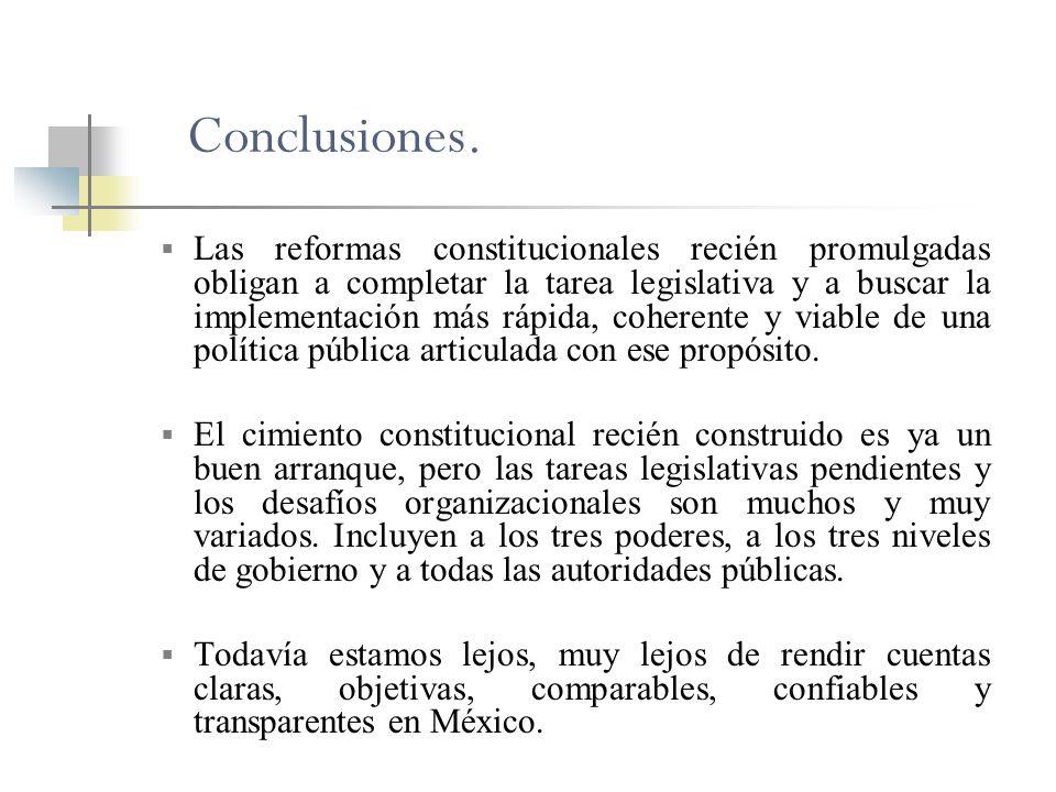 Conclusiones. Las reformas constitucionales recién promulgadas obligan a completar la tarea legislativa y a buscar la implementación más rápida, coher