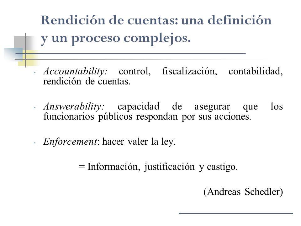Accountability: control, fiscalización, contabilidad, rendición de cuentas. Answerability: capacidad de asegurar que los funcionarios públicos respond