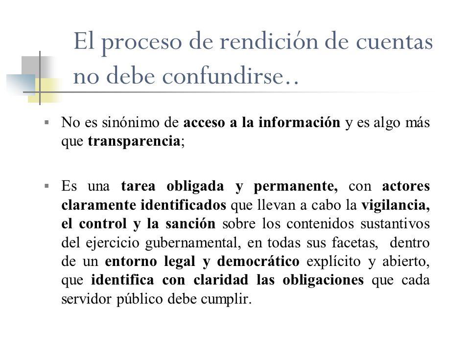 El proceso de rendición de cuentas no debe confundirse.. No es sinónimo de acceso a la información y es algo más que transparencia; Es una tarea oblig