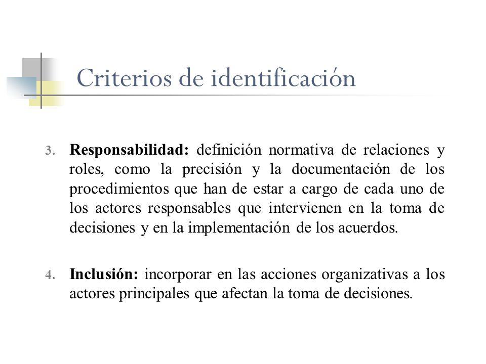 Criterios de identificación 3. Responsabilidad: definición normativa de relaciones y roles, como la precisión y la documentación de los procedimientos
