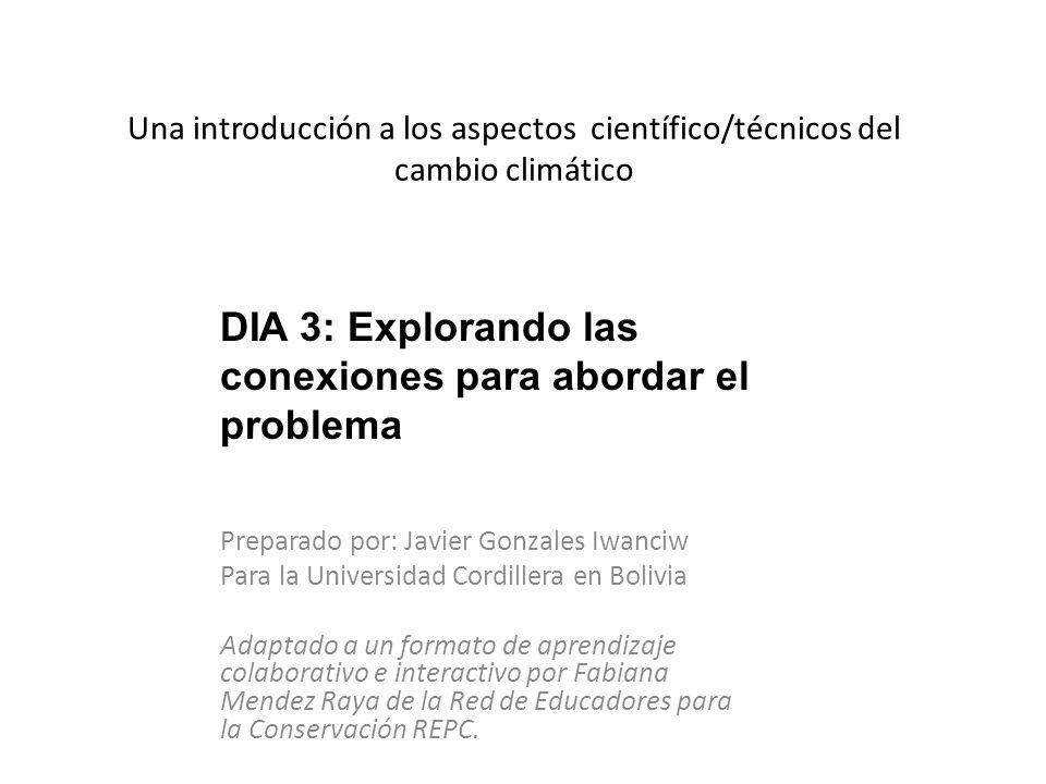 Una introducción a los aspectos científico/técnicos del cambio climático Preparado por: Javier Gonzales Iwanciw Para la Universidad Cordillera en Boli