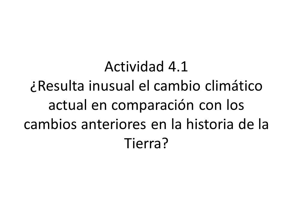 Actividad 4.1 ¿Resulta inusual el cambio climático actual en comparación con los cambios anteriores en la historia de la Tierra?
