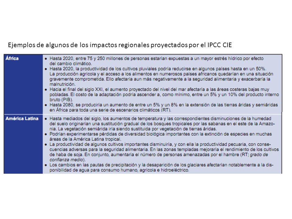 Ejemplos de algunos de los impactos regionales proyectados por el IPCC CIE