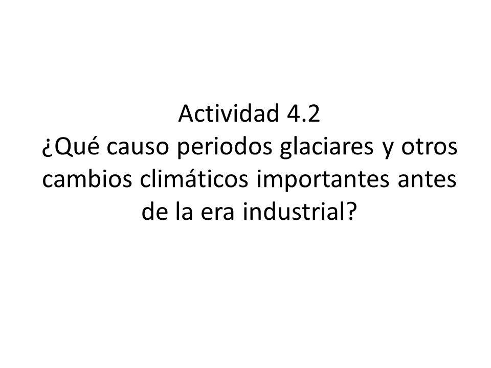 Actividad 4.2 ¿Qué causo periodos glaciares y otros cambios climáticos importantes antes de la era industrial?