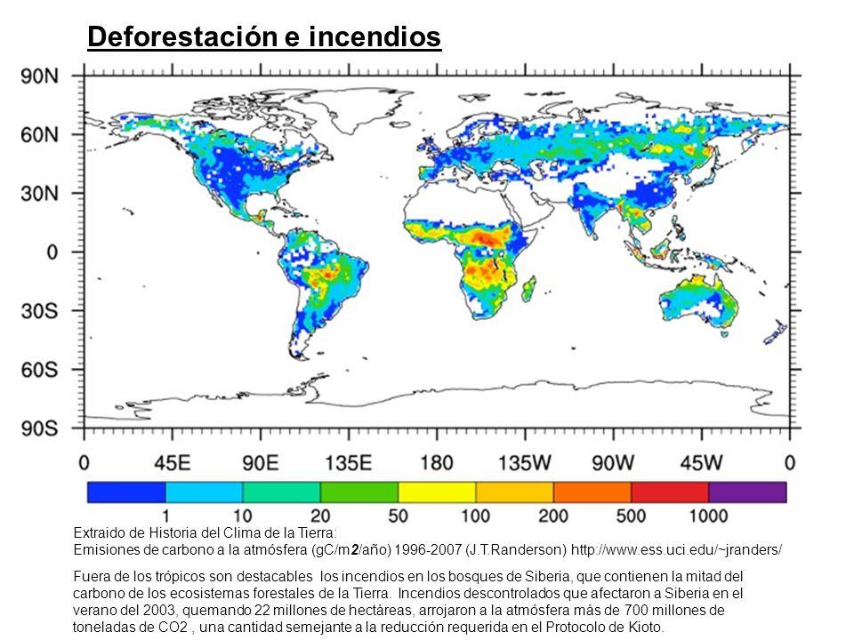 Extraido de Historia del Clima de la Tierra: Emisiones de carbono a la atmósfera (gC/m2/año) 1996-2007 (J.T.Randerson) http://www.ess.uci.edu/~jrander