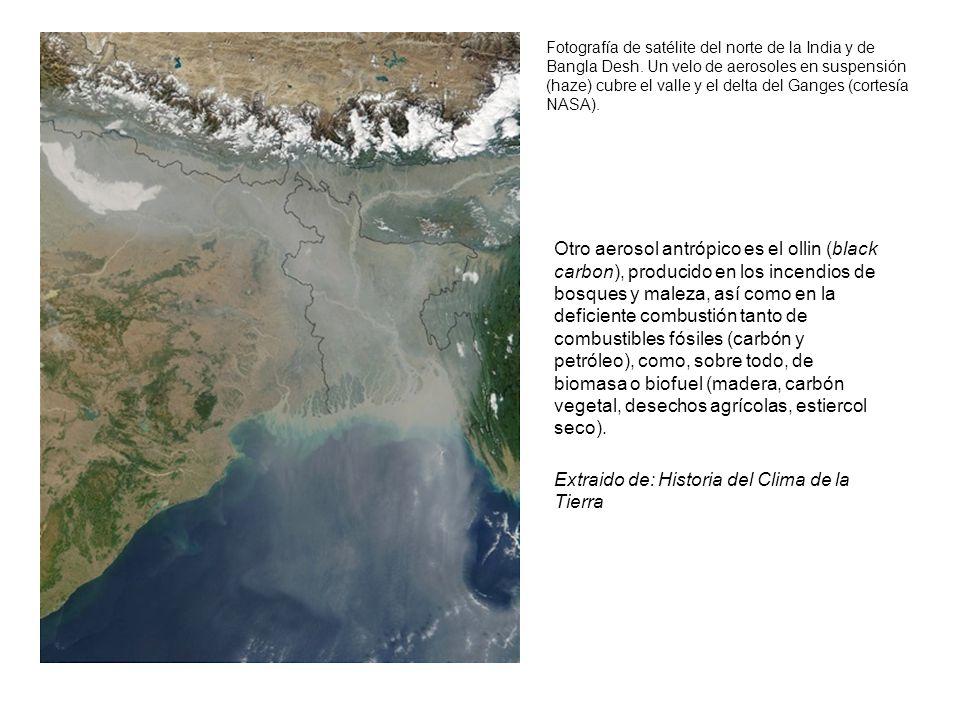 Fotografía de satélite del norte de la India y de Bangla Desh. Un velo de aerosoles en suspensión (haze) cubre el valle y el delta del Ganges (cortesí