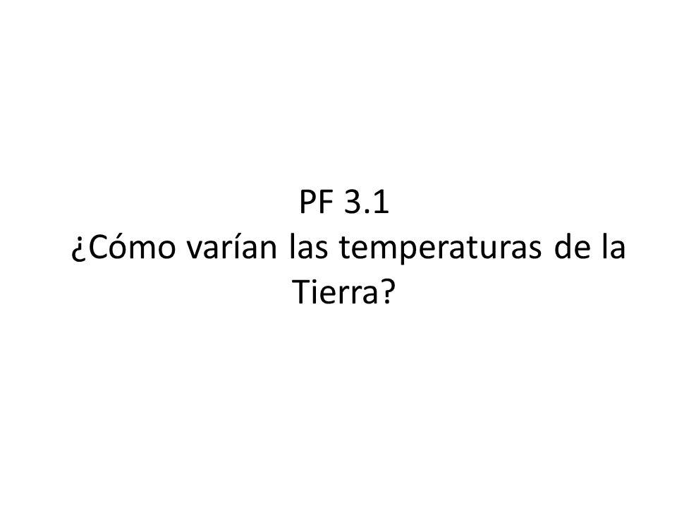 PF 3.1 ¿Cómo varían las temperaturas de la Tierra?