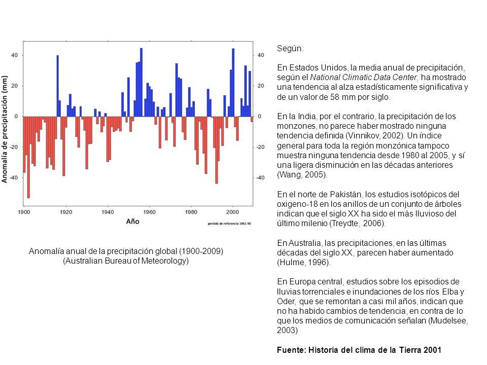 Anomalía anual de la precipitación global (1900-2009) (Australian Bureau of Meteorology) Según: En Estados Unidos, la media anual de precipitación, se