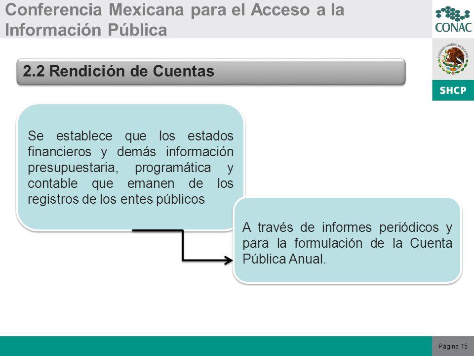 Página 15 Conferencia Mexicana para el Acceso a la Información Pública 2.2 Rendición de Cuentas Se establece que los estados financieros y demás información presupuestaria, programática y contable que emanen de los registros de los entes públicos A través de informes periódicos y para la formulación de la Cuenta Pública Anual.