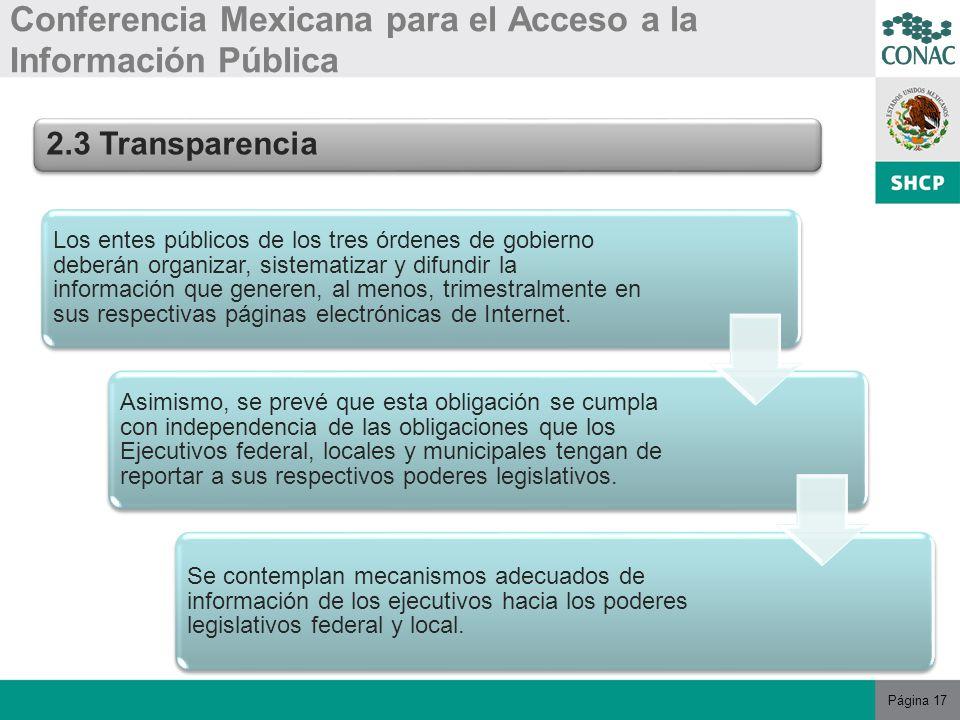 Página 17 Conferencia Mexicana para el Acceso a la Información Pública 2.3 Transparencia Los entes públicos de los tres órdenes de gobierno deberán organizar, sistematizar y difundir la información que generen, al menos, trimestralmente en sus respectivas páginas electrónicas de Internet.
