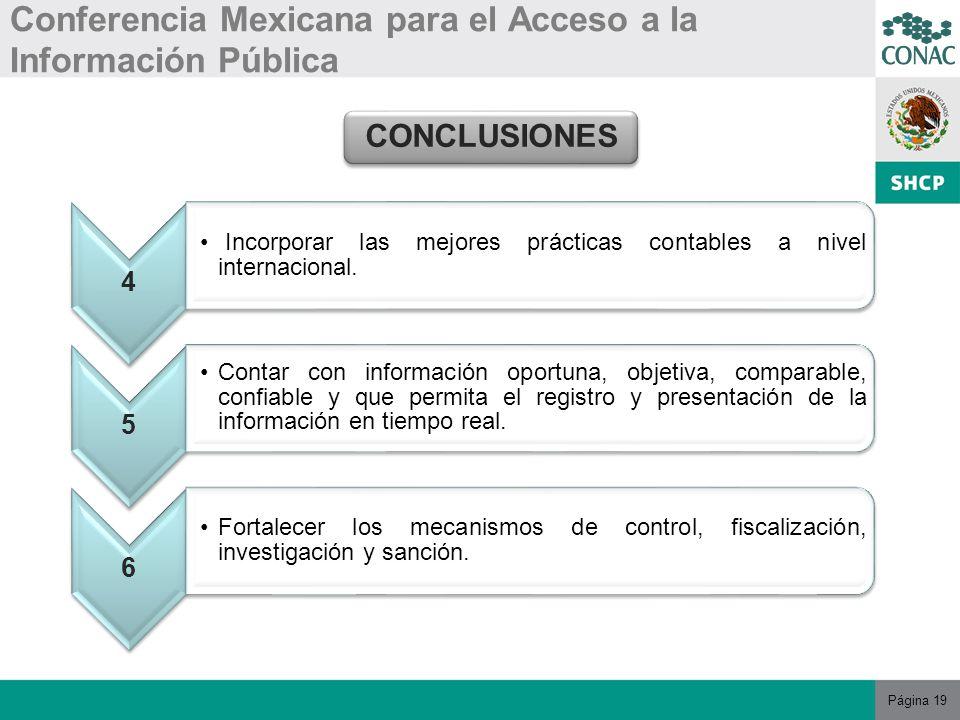 Página 19 Conferencia Mexicana para el Acceso a la Información Pública CONCLUSIONES 4 Incorporar las mejores prácticas contables a nivel internacional.