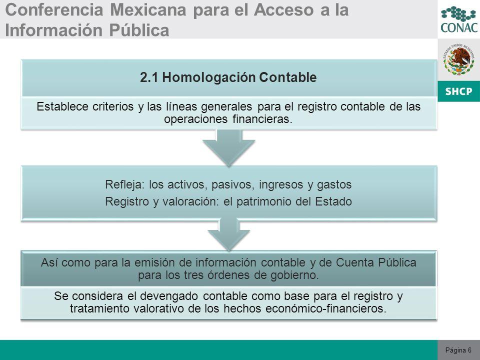 Página 7 Conferencia Mexicana para el Acceso a la Información Pública 2.1 Homologación Contable La Ley establece el vínculo de los registros: ContablesPresupuestarios