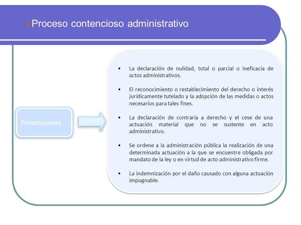 Pretensiones La declaración de nulidad, total o parcial o ineficacia de actos administrativos. El reconocimiento o restablecimiento del derecho o inte