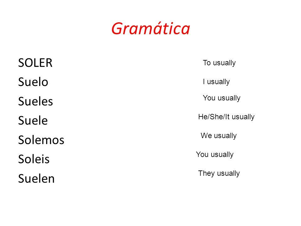 Gramática SOLER Suelo Sueles Suele Solemos Soleis Suelen I usually To usually You usually He/She/It usually We usually You usually They usually